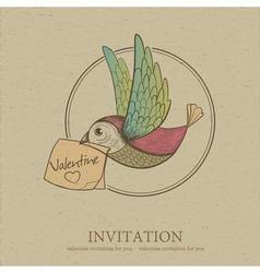 Bird with valentine invitation card vector