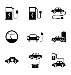 Black electric car icons set vector