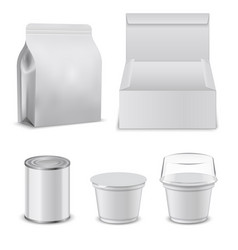 blank template of food boxes and plastic vector image