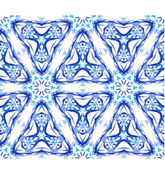 Blue flower fractal triangular pattern vector