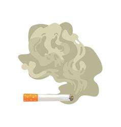 Burning cigarette with smoke bad habit nicotine vector
