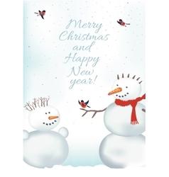 Christmas card with snowmen vector