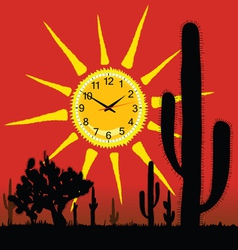 Clock in the sun and cactus vector