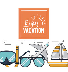 Color poster of enjoy vacation with snorkel and vector