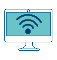 Computer display with wifi signal vector