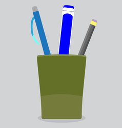 Cup stationery pen pencil vector image