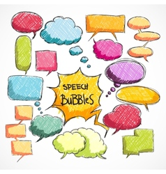 Doodle comic chat bubbles collection vector image vector image