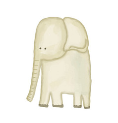 Doodle watercolor hand drawn elephant isolated on vector