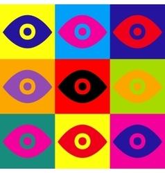 Eye sign pop-art style icons set vector