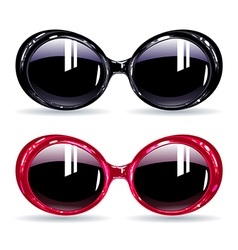 Fashionable glasses with dark pink and black frame vector