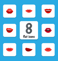 Flat icon mouth set of pomade lipstick teeth and vector