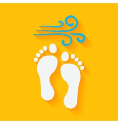 Flat summer footprints on the beach vector