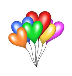 Flying balloons in shape of heart vector