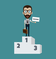Happy success businessman on first podium with vector