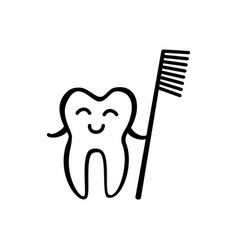 happy tooth icon vector image