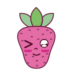 Kawaii cute funny strawberry fruit vector