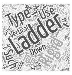 Ladders type and use word cloud concept vector