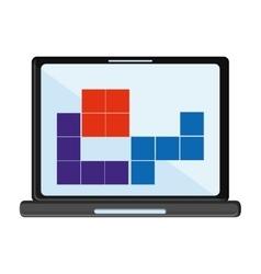 Laptop and tetrix videogame design vector