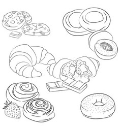 line art various baking vector image vector image