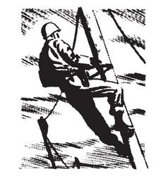 Man holding a pole vintage vector