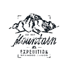 Mountain expedition label with shabby texture vector