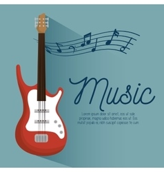 music poster electric guitar and notes vector image vector image