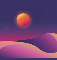 Retro background futuristic landscape design vector