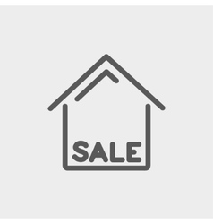 Sale sign thin line icon vector