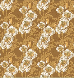 Seamless pattern of vintage white poppies vector image