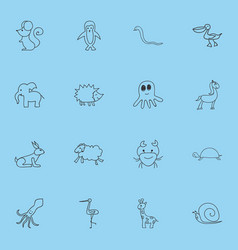 Set of 16 editable animal icons includes symbols vector