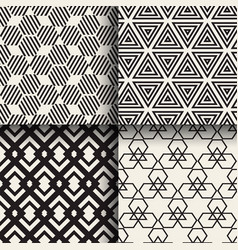 set of abstract geometric seamless patterns vector image vector image
