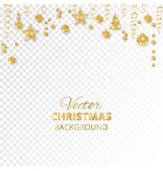 Sparkling christmas glitter ornaments golden vector