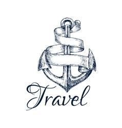 Travel icon anchor and ribbon sketch emblem vector