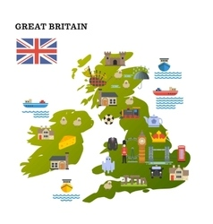 United Kingdom travel map with landmark icons vector image vector image