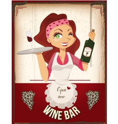 wine bar poster vector image