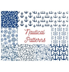 Nautical seamless pattern set with anchor and helm vector image