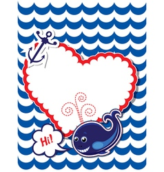 Funny card with whale anchor and empty frame vector