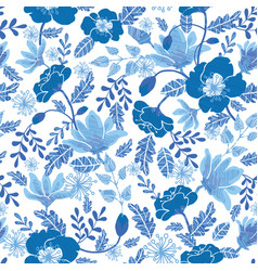 Navy and denim blue textured spring flowers vector