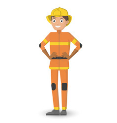 Man in the uniform of a fireman the happy smiling vector