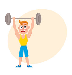Young man squatting with barbell doing sport vector