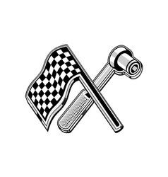 Checkered flag socket wrench crossed vector