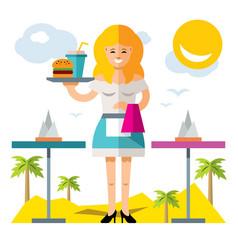waitress flat style colorful cartoon vector image