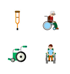Flat icon disabled set of stand wheelchair vector