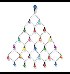 Christmas tree garland lights string vector