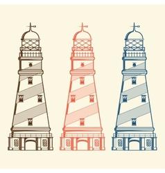 Retro lighthouses set vector image