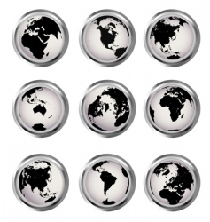 web buttons with earth globes vector image