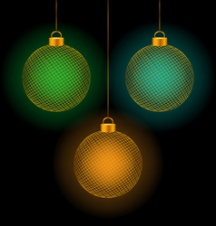 Self-illuminated christmas balls on black vector