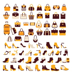 Silhouette icon set bag shoes vector