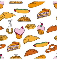Bakery assortment pattern vector
