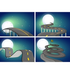Four night scenes of empty roads vector